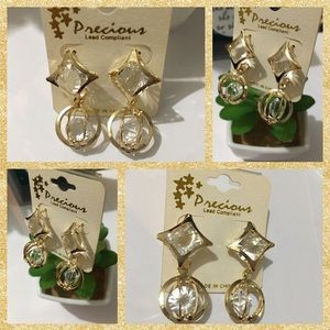 Gold With CZ Diamond Fashion Earrings! NWT💖